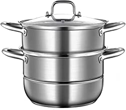 DIAOD Stainless Steel Steamer, Multi Layer Stock Pot and Steamer with Toughened Glass Lid, for All Hobs