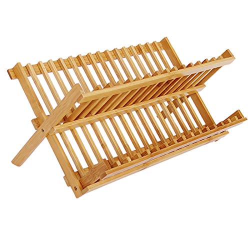 Kitchen Storage Utensil Holder, Bamboo Foldable Dish Rack Compact Bamboo Plate Rack for Plates Cups Mugs Flatwares,16 Lattice