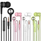 A12 Headphones Earphones Wired Earbuds with Microphone, Noise Islating, High Definition, Fits All 3.5mm Interface,Stereo for Samsung, iPhone,iPad, iPod and Mp3 Players (Black+White+Pink+Green 4pairs)