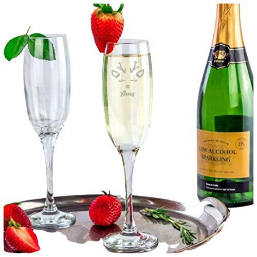 Be-Creative Copa de champán de Navidad con grabado personalizado, regalo de copa de copa Prosseco (estilo 1)