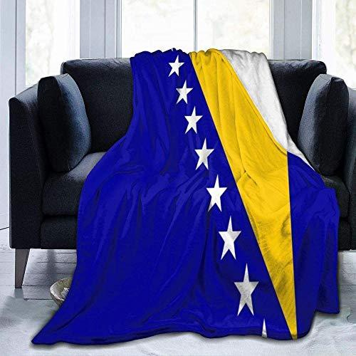 YuLiZP Decke Wohn Kuscheldecken,Werfen Sie Schlafzimmer/Sofa/Wohnzimmer Couch Warm Travel Super Fluffy Solid Bed Für Kinder Erwachsene Die Ganze Saison Flagge Von Bosnien Und Herzegowina 80x60 inch