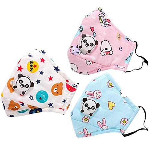 Redmoo -  Máscara antipolvo para niños,  3 unidades,  PM2, 5,  máscara anticontaminación de carbón activo,  máscara para respirar con filtro de aire para correr,  ciclismo (varios colores enviados al azar)