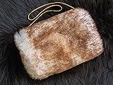 Muff / Handwärmer aus echtem Lammfell / m. kleiner Innentasche / weiß-braun