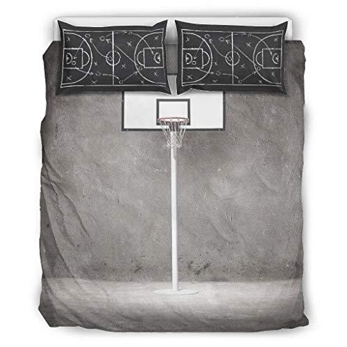 O2ECH-8 Basketballfeld Tagesdecke Bettwäsche Set 3-teilig Kopfkissen- und Kopfkissenbezüge - Lustige Taktik Ultra-Soft Bohemia Bettwäscheset White 264x229cm