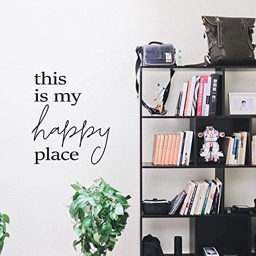 LSMYE Creative My Room glücklicher Ort Vinyl Wandaufkleber Für Kinderzimmer Abnehmbare Wandbilder Schlafzimmer Aufkleber Weiß L 43cm X 51cm