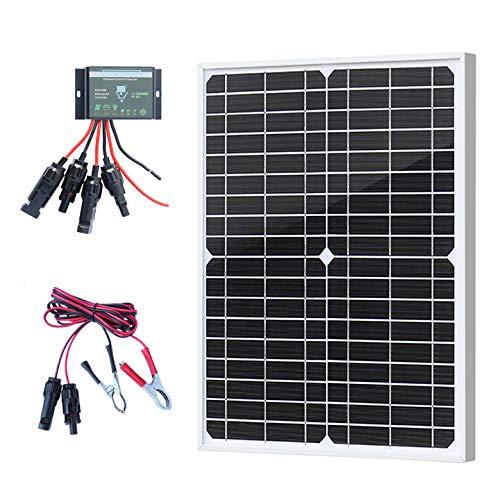 XINPUGUANG Kit de panneau solaire 20w 12V Étanche Contrôleur de charge solaire 10A 12V / 24V pour caravane, camping-car, jardin, cabanon, lumière, caméra (20)