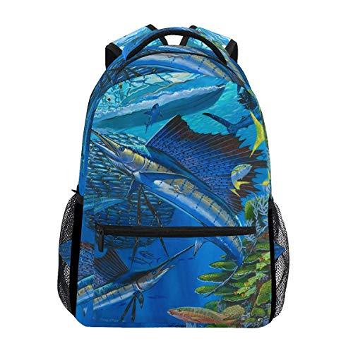 Stilvoll Sailfish Billfish Reef Rucksack-Leichte School College Reisetaschen 16 X 11,5 X 8 Zoll