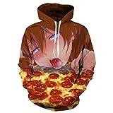 Photo de LMSYFR Pizza Ahegao Hoodies Sweatshirt Automne Hiver Men's Long Sleeve Pulls 3D Drôle Imprimer Ensemble Grande Taille HOODIES XL