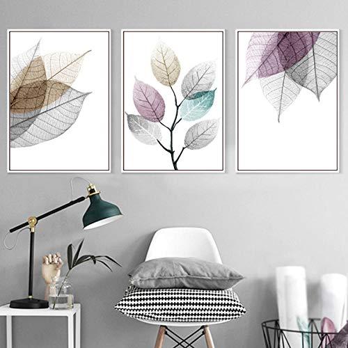 AKLIGSD Cuadros Lienzo de Pintura Hoja de Arte Abstracto para la Sala de Estar, Cocina de Dormitorio, 50 cm x 70 cm x 3 Piezas (Sin Marco)