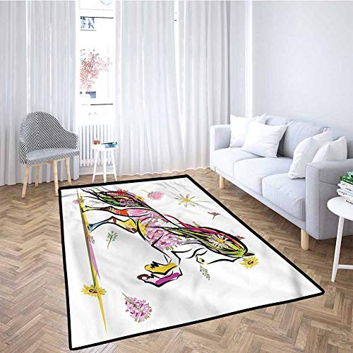 Buy Bargain Sketchy Baby Crawling Mat Kids Playmat Pony Horse Colorful Flowers for Toddlers, Stylish...