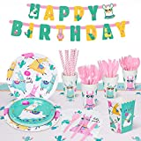Decorlife Llama Birthday Party Supplies Serves 16, Cute Party Decorations for Girls, Complete Pack Includes Popcorn, 54
