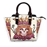 PageHar Bolso de mano con textura floral, color rosa, de cuero de PU, bolso con remaches, correa para el hombro, asa superior para mujer