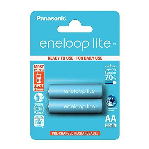 Panasonic BK-3LCCE/2BE Eneloop Lite Batterie Ricaricabili Stilo AA, Blister 2, Azzurro