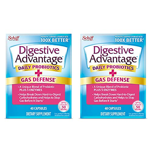 Fast Acting Enzymes Plus Daily Probiotic Capsules, Digestive Advantage (40ct), Helps Support Breakdown Of Hard To Digest Foods & Helps Prevent Gas*, Supports Digestive & Immune Health* (Pack of 2)