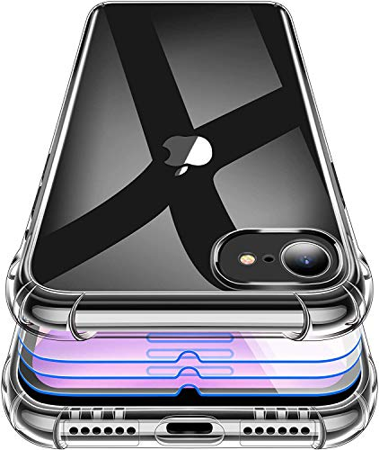 Garegce - Carcasa para iPhone SE 2020 + 2 protectores de pantalla de cristal, funda para iPhone SE, iPhone 8, iPhone 7, funda transparente a prueba de golpes, 4.7 pulgadas, color negro