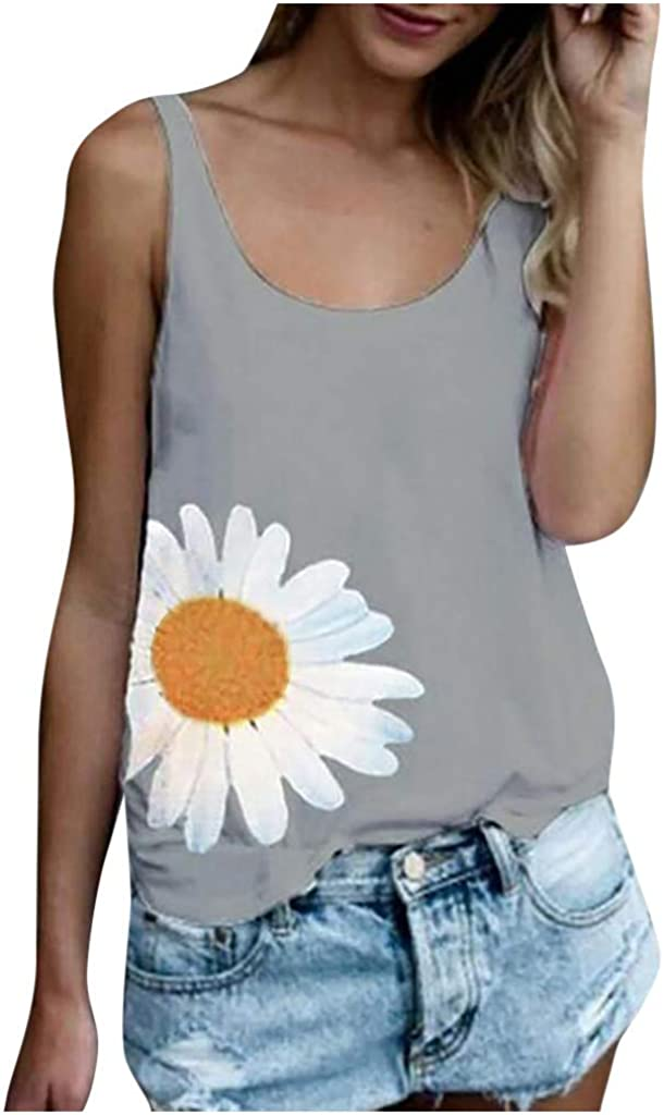 Tank Tops for Women,Women's Summer Women Sunflower Printing Sleeveless O-Neck Vest Tank Shirt Blouse Tops