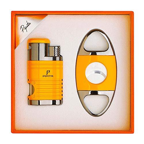 【高い品質】PIPITA 葉巻 ライター 充填式 用品 シガーツール ギフトセット(シガー ライターx1シガーカッターx1)携帯便利セット直噴ターボ ジェットライター(ガスなし) (黄)