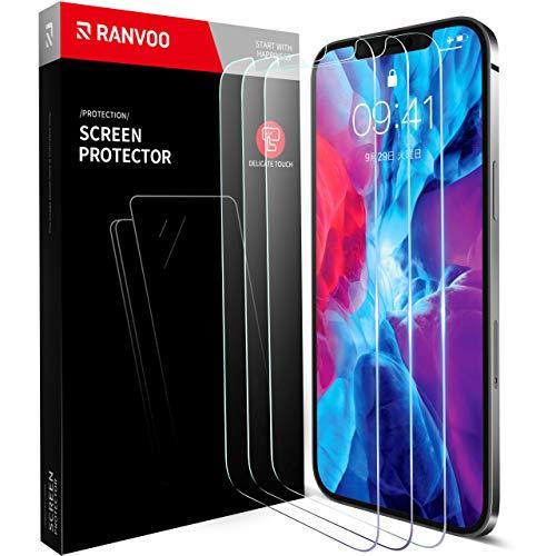 RANVOO【3枚セット】iPhone 12 / iPhone 12 Pro 用 ガラスフィルム 日本旭硝子製 全面保護フィルム 強化ガラス 透過率99.9% 気泡ゼロ 飛散防止( アイフォン12/アイホン12 PRO 用 フィルム (6.1インチ)