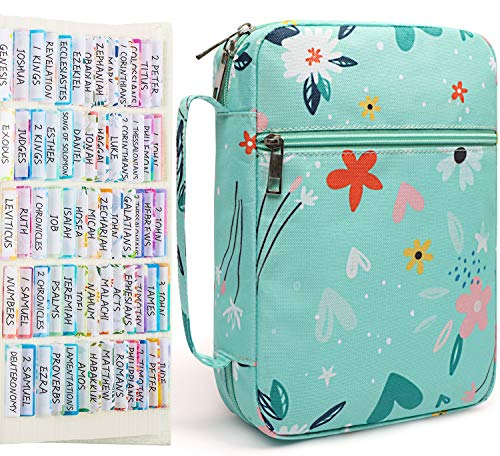 Bible Cover Case for Women,Book Cover Floral Pattern Fits for Standard Size Bible with Colorful 66 Bible Tabs and 34 Blank Sticky Tabs,Bible Bag Large Size Gift for Mom/Daughter/Girls Green