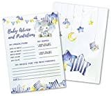 50 Deluxe Blue Elephant Advice and Prediction Cards- Large Double Sided 5 x 7 Inch for Baby Boy Shower Game, New Parent Message Book, Mom & Dad to Be, Decorations Activities Supplies Invitations -  Pink Pixie Studio