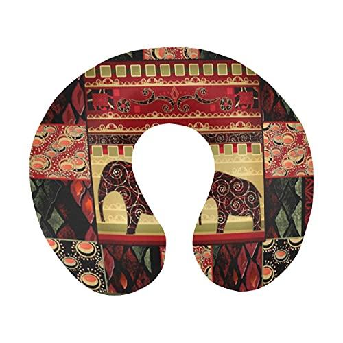 Hippie Étnico Patchwork de Piel de Serpiente y Elefantes Almohada de Viaje de Espuma viscoelástica Cómoda Almohada de Cuello en Forma de U para avión, Coche, Oficina, Dormir