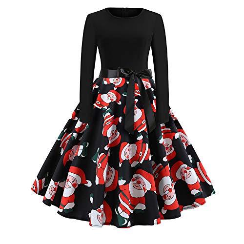 Vrouwen Kerst Jurken Lange Mouw Kerstman Sneeuwman Print A-lijn Grappige Xmas Elementen met Riem Outfits