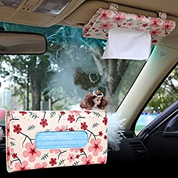 Car Tissue Holder Visor Mask Holder Pink Red Cherry Blossom Design for Women Pink Car Decor Girl Car Accessories for Women Interior Cute PU Mask Dispenser for Car Sun Visor Tissues Napkin Box Holder