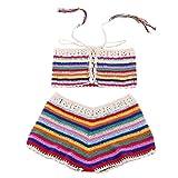 Women Rainbow Bohemian Handmade Crochet Knitted Beach Bikini Set Swimwear Bra Swimsuit (M, Multicolor)