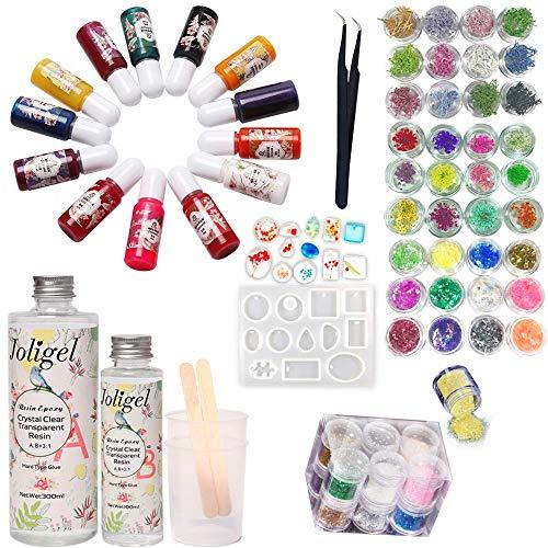 Joligel AB Résine Epoxy Transparent 400 ml + 13 couleurs de pigment + moule pour pendentifs (12 formes) + 48 décorations (paillettes + papier glassine + fleurs séchées + fleurs de corail) + pinces