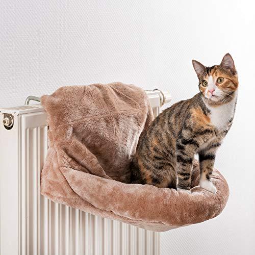 CanadianCat Company ® | Loveseat für Heizkörper | beige | 45x13x33cm | Liegemulde XL für Katzen | verstellbare Bügel