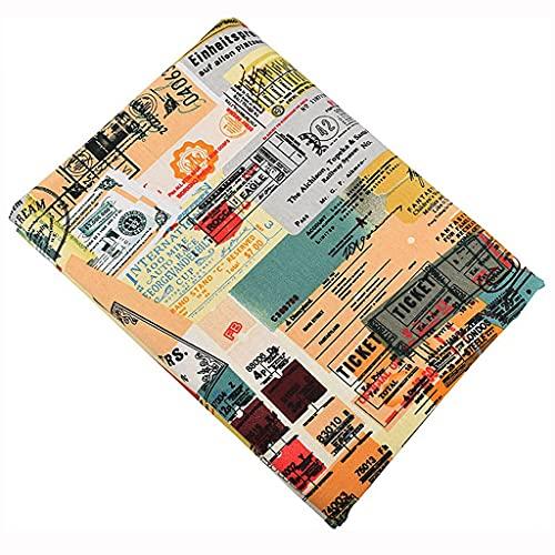 ANWUYANG BU 1 unids 150 cm Impresión en inglés Tela de Lino de algodón, Tela de Tela Hecha a Mano para la Bolsa de Cortina de sofá Material de decoración del hogar: por Medio Metro