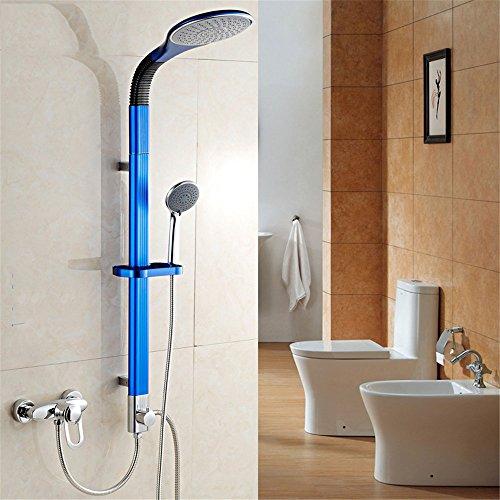 Bijjaladeva waterkraan badkamer waterval mengkraan wastafel de blauwe aluminium legering de stang voor het douchegordijn kit volledig koperen kraan lichaam splitst grote douche