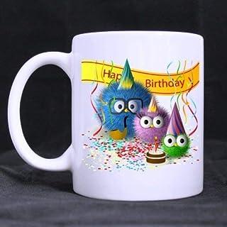 Birthday Mug Gifts - 11Oz Tea Cup White Birthday Funny Happy Birthday Cartoon Monster Celebration (Twin Side)