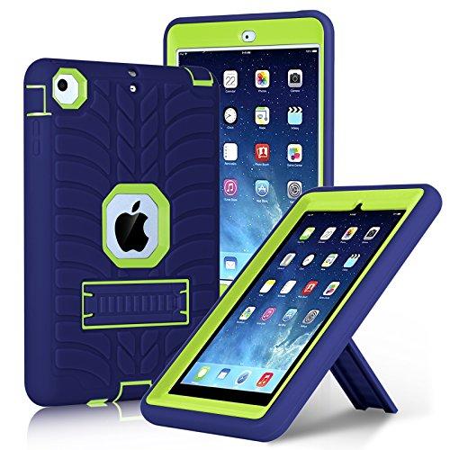 iPad Mini Case, iPad Mini 2 Case, iPad Mini 3 Case, iPad Mini Retina Case, Elegant Choise Three Layer Heavy Duty Shockproof Protective Case Cover Kickstand for iPad Mini 1/2/3 (Navy/Green)
