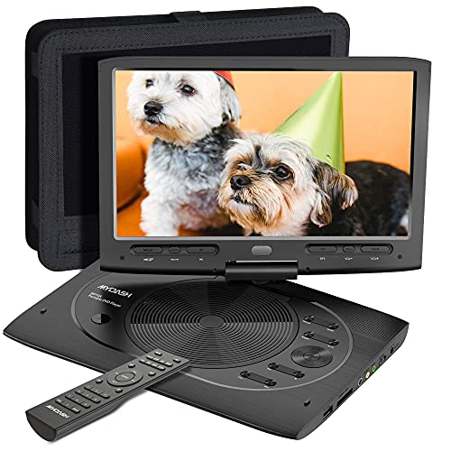 """MYDASH Portable DVD Player 12.5"""" for Car, Kids DVD Player with 10.1"""" HD Swivel Display Screen, SD Card Slot and USB Port, Car Headrest Mount Provided, Exclusive Button Design, Black"""