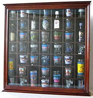 41 Shot Glass Display Case Holder Cabinet Wall Rack with Glass Door (Walnut Finish)