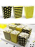 Set 6 Pz Box Porta Pop Corn Tema Ape Gialli e Neri a Pois e Righe in Cartoncino - Sacchetti Buste Scatole Patatine Compleanno Festa Tema