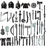 PHYNEDI Goshfun 51Pcs Ancient Greek Ancient Roman Medieval Egypt Figure Weapon Helmet Armor Set, Small Particle Building Block Toy Accessory Collection Kit Compatible with Lego