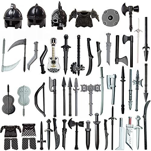 SESAY Juego de armas militares, 51 piezas, modelo medieval, minifiguras de armas y casco, compatible con Lego