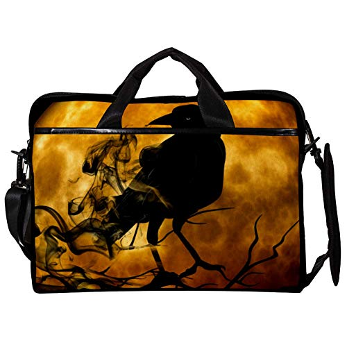 Vockgeng Cuervo de Halloween Funda Protectora de 15 Pulgadas para portátil, Funda ultrabook para portátil, Bolso de Hombro, Bolsa de Mensajero para MacBook Pro, MacBook Air