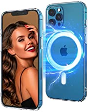 Clear Magnetic Case Compatible with iPhone 12/12 ProSupport Wireless Fast Charge Anti-Yellow Shockproof Crystal Thin Protective Ultra Slim Scratch Cover