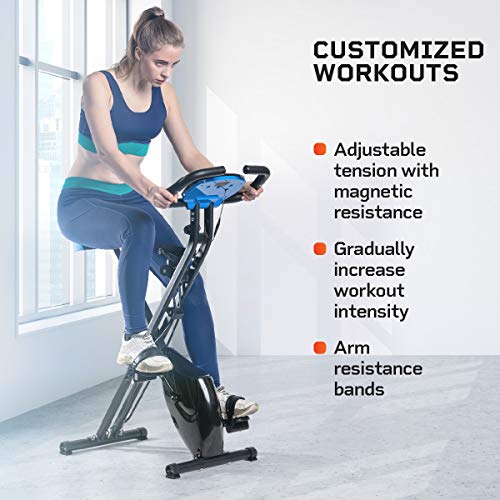 Product Image 2: LifePro Foldable Stationary Bike, Pulse Sensors, Adjustable Resistance – Slim Portable Bike Exercise Machine for Indoor Cycling, Home Gym, Workout – Fitness Equipment for Men, Women, Seniors