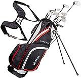 Wilson Anfänger-Komplettsatz, 10 um 1 Inch verlängerte Golfschläger mit Carrybag, Herren, Rechtshand, Stretch XL, schwarz/grau/rot, WGG157552