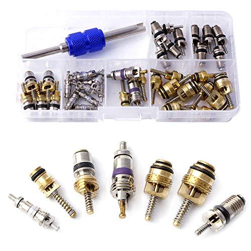 lymty 41Pcs Auto Klimaanlage Ventil Kern Schrader Ventil Kerne Zubehör A/C R12 R134a Kühlung Reifen Ventil Vorbau Sortiment Kit