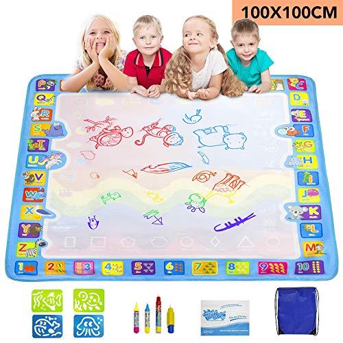 GoZheec Wasser Doodle Matte 100 x 100 cm Wasser Zeichnen Matte mit 4 Magischer Stift und 4 Zeichnungsvorlagen Aqua Doodle Wiederverwendbare Pädagogisches Geschenk für Kinder Baby Mädchen Jungen
