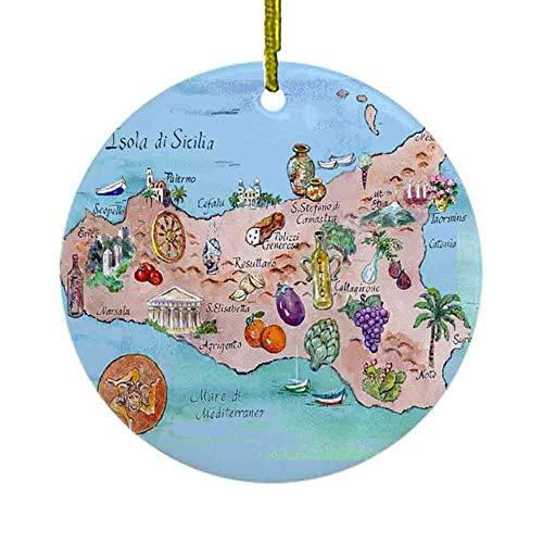 8 NBNWDHI Ceramic Ornaments - Map of Sicily Ornament (Round) Round Holiday Christmas Ornament| Cute Santa Gift| Xmas Tree Decoration 2.8in