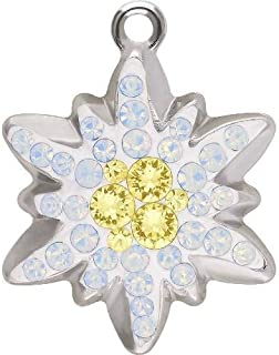 67442 Swarovski Pendant Pave Edelweiss | Light Smoked Topaz & Crystal Golden Shadow | 14mm - Pack of 1 | Small & Wholesale Packs