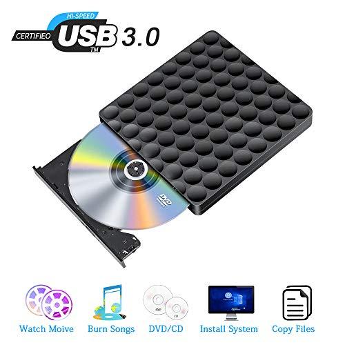Extern CD DVD Laufwerk USB 3.0 Portable DVD CD Slim Burner Plug and Play Low Noise, for Laptops,Desktops, Windows 7/8/10 / SE and Linux OS