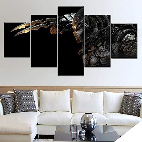 XIAYF 5 piezaslienzo de Pintura de sobre Lienzo Alien depredador Arte de Pared para Oficina y decoración de Pared del hogar
