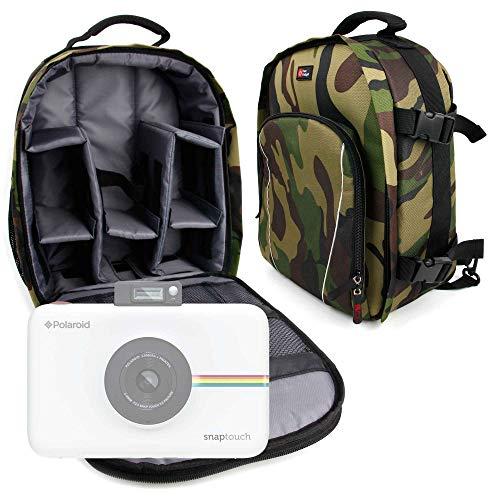 DURAGADGET Mochila Camuflaje con Compartimentos Desmontables para Cámara Polaroid Snap Touch 2.0 + Funda Impermeable